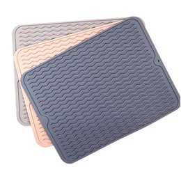 Silicone Dish Drying Mat Drain Pad Non-slip Easy Clean Dishwasher Safe Heat Resistant Eco-Friendly Placemat Kitchen Accessories JK2002 on Sale