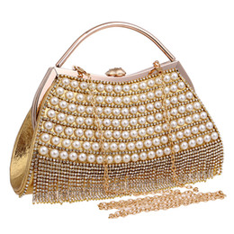 clutches for evenings UK - Woman bling evening bag gold sliver tote handbag lady Shoulder Clutch bag desinger for wed banquet party pearl tassel free ship