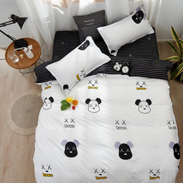 black white rose bedding NZ - Black and White Color Bear Bedclothes Single Size Kids Bedding Set Reactive Printed Queen Size Bed Cover King Bed Linens Euro
