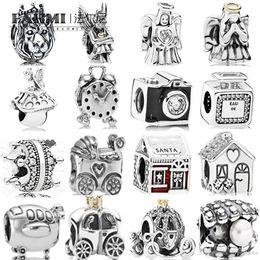$enCountryForm.capitalKeyWord Australia - FAHMI 100% 925 Sterling Silver Charm Baby Carriage Alarm Clock Royal Carriage Pearl Bottle Bead Santa's House Enamel Angel of Love