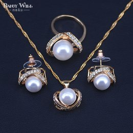Mix Color Ball Chain NZ - Jewelry Sets Simulated Pearl Bead Ball Women Gold Color Rose Earrings+Rings+Pendant Wedding Optional Chains Necklace