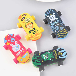 kids rubbers stationery Australia - Cute Skateboard Rubber Eraser Scooter Eraser Creative Stationery School Supplies Papelaria Kids Gift