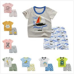 631be6af18084 2Pcs set Summer Cotton Baby Boys Clothes Suit Korean Casual Short-sleeved T- shirt+Shorts Kids Outfits Toddler Boys Clothing Set