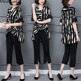 summer two piece sets women NZ - Summer Striped Two Piece Sets Women Plus Size Short Sleeve Tops And Cropped Pants Sets Suits Office Korean Elegant Women's