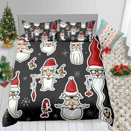 3d bedding set white rose Australia - Santa Printed Bedding Set Christmas Decoration For Home 3D Duvet Cover Queen King Single Double Twin Full Bed Cover with Pillowcase 3pcs