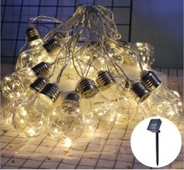string gardens Canada - G45 Spherical Bulb Copper Wire Lamp Solar Energy Lamp String Garden Courtyard Room Decorative Lamp String Spot Supply