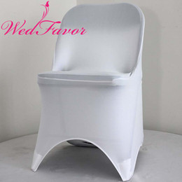 $enCountryForm.capitalKeyWord Australia - WedFavor 100pcs High Quality White Stretch Lycra Spandex Folding Chair Covers For Hotel Banquet Wedding Decoration