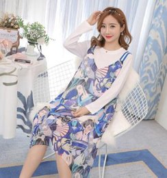 t shirt dress winter Australia - Hot Maternity Sets 2018 Autumn Winter New Long-sleeved T-shirt + Printed Sling Dress Two-piece Set Breastfeeding Clothes QL688