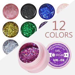 Nail art piNk color online shopping - 7pcs Holographic Glitter Nail Gel Polish Shiny Laser Sequins Pink Purple Color Soak Off UV Gel Polish Nail Art Lacquer