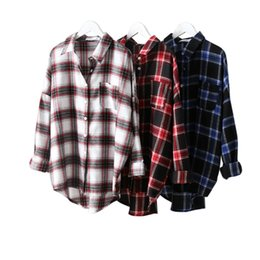 Discount korean shirt style for women - New arrival Women Plaid Shirts Autumn Spring Long Sleeve Blouses Shirt for Girls Korean Top Streetwear Boyfriend Style S