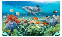 underwater 3d wallpaper Australia - customized 3d photo wallpaper murals wall paper Underwater World Dolphin Fish Coral 3D Living Room TV Background Wall paper for walls 3d