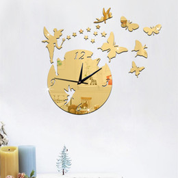 fairy mirror wall stickers Australia - Cartoon Little Fairy Room Clock Creative Mirror Wall Clock Living Room Silver 2018 Home Decor Poster Europe Acrylic Butterfly