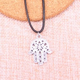 $enCountryForm.capitalKeyWord Australia - New Durable Black Faux Leather Antique Silver 28*21mm hamsa palm protection Pendant Leather Chain Necklace Vintage Jewelry Dropshipping