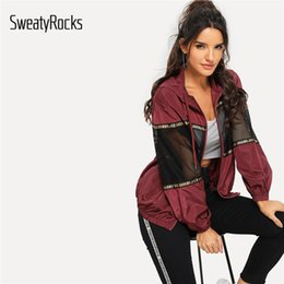 Windbreaker skirt online shopping - SweatyRocks Burgundy Athleisure Mesh Insert Drawstring Hooded Windbreaker Jacket Women Autumn Casual Overcoat And Tops Y190919