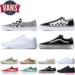 Ingrosso Vendita Top Van Old Skool scarpe di tela donne Sneakers Sport Skateboarding Mens tutto nero slittamento bianco su nero bianco van cesti scarpe casual