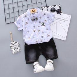 $enCountryForm.capitalKeyWord Australia - Baby Boys Clothes Short Sleeve Floral Print Tops T-shirt+Shorts Summer kid clothes Fashion Children Casual Outfits Sets 2019 #E