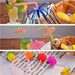 disposable plastic straw UK - Manual art Umbrella Straws Cocktail Drinking Straws Wedding Event Holiday Party Supplies Bar Decorations Disposable Straws T3I0010