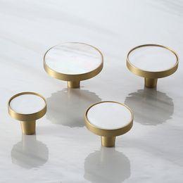 Nordic Brass Kitchen Drawer Cabinet Door Knobs Handles White Nature Shell Furniture hardware Cupboard Wardrobe Door Pulls Handles on Sale
