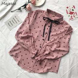 Kawaii bows online shopping - Blouses Women Chiffon Dots Bow Sweet Kawaii Pink Korean Style All match Student Chic Casual Butterfly sleeve Turn down Collar