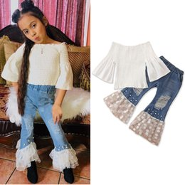 girl rip jeans 2019 - Toddler Baby Girls Mandarin Sleeve Off the Shoulder Solid White Tops + Tulle Ripped Jeans Bell-bottoms Outfits 1-6Y disc
