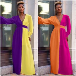 long sleeve maxi dresses Australia - Contrast Color Side Split Sexy Maxi Dresses Women V Neck Full Sleeve Fit and Flare Long Dresses Ladies High Waist Causal Dress