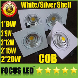 Square Bathroom Ceiling Lights Australia - Square Grille Light 9W 2*(9W 12W 15W 20W) COB LED Downlights High Bright Tiltable Fixture Recessed Ceiling Down Spot Lights Display Lamps CE