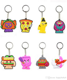 bags foods Australia - 40 desigh Cute Cartoon Food Keychain Key Ring Gift For Women Girls Bag Pendant PVC Figure Charms Key Chains Jewelry key Holder