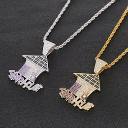 ice housing Canada - Whosale Trap House Pendant CZ Bling Purple Iced Out Micro Paved Necklace for Men Hiphop Jewelry