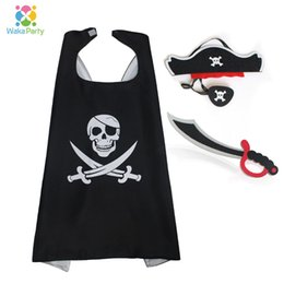 cosplay eye patches UK - Kids Pirate Costume Accessories Hat Eye Patch Dagger Cloak Masks for Boys Birthday Halloween Party Decoration Cosplay Dress Up