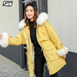 cd673b402bdf0 Fitaylor Real Fur Collar Hooded Jacket Winter Women White Duck Down Parkas  Female Slim Warm Snow Long Down Sweet Coat Outwear