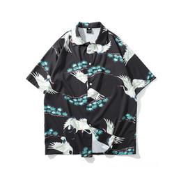 $enCountryForm.capitalKeyWord UK - Crane Printed Shorts Sleeve Shirts Men Women 2019 Japanese Streetwear Harajuku Vintage Flower Hawaiian Beach Shirts Tops For Men T2190606