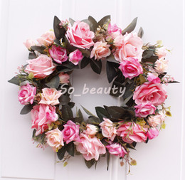 Wholesale Door Hanging Artificial Rose Flowers Wreath Simulation Flower Garland Decor Wall Window Home Door Lintel Wreath