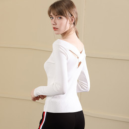 $enCountryForm.capitalKeyWord Australia - Shoulder Sexy Reveal Back Jacket Ice Silk Knitting Unlined Upper Garment Solid Color Pullover Knitting T Pity Self-cultivation Suit-dress