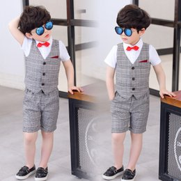 $enCountryForm.capitalKeyWord NZ - In stock summer boy suit vest suit dress three-piece   gray plaid vest pants white shirt red bow tie   into the store to choose more styles