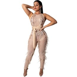 Feather Tassel Sequin Jumpsuit Women Backless Open Back Black Sexy Sheer  Mesh Bodysuit Bandage Bodycon Party Jumpsuits Playsuits 0deb539437f4