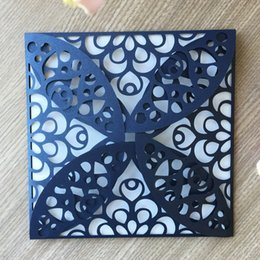 $enCountryForm.capitalKeyWord NZ - 50PCS  lot Chinese Traditional Style Hollow Flower Wedding Invitation Cards Engagement Marriage Business Meeting Invitations Supplies
