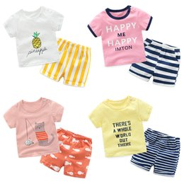 $enCountryForm.capitalKeyWord Australia - 2pcs Korean Cotton Children's Set Cartoon Short-sleeved T-shirt+striped Shorts Baby Boy Girl Summer Clothes Suit Q190530