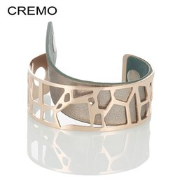 Wholesale Cremo Multilayer Bangles Cocktail Big Stainless Steel Bracelets Giraffe Cuff Bangles Bijoux Femme Statement Delicat Wide Bangle Y19051002