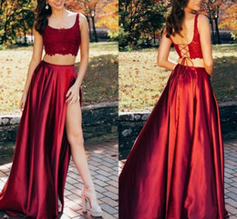 cheap corsets petite sizes UK - Burgundy 2 Pieces Homecoming Prom Dresses Long Sexy Side Split Lace Corset Back Spaghetti Cheap Graduation Dress Cocktail Party Gowns Cheap