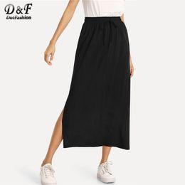 103862b84 Dotfashion Black Solid Split Side Column Harajuku Skirt Women 2019  Streetwear Spring Autumn Casual High Waist Fashion Slit Skirt