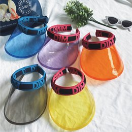 fd72a0af15f New Hot Women Transparent Clear Unbreakable Visor Cap Empty Topless Letter  PVC Plastic Big Brimmed Sun Beach Party Hat