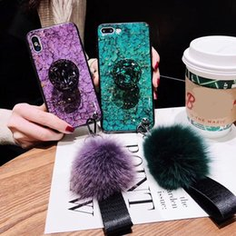 $enCountryForm.capitalKeyWord NZ - Luxury Fur Ball Soft Rubber Bumper phone case For iPhone XR XS Max XS Bling Diamond Glitter Airbag Stand Holder Phone Cover for iphone 7 8