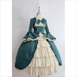 Wholesale renaissance costumes women for sale – halloween hot sell classical beautiful Women s Costumes Medieval Renaissance in Europe bowknot lace High waisted dress Stage Wears Court dress