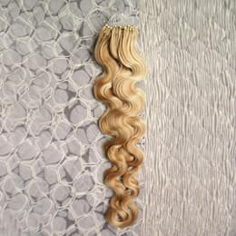 $enCountryForm.capitalKeyWord Australia - Brazilian body wave Hair Micro Bead Loop Hair Extensions Human Hiar Piano Color #27 with Bleach Blonde #613 100G Pack