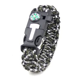 whistle bracelets UK - High Quality Mens and Womens Cool Ourdoor Survival Bracelet Handmade Multicolors Whistle Compass Charm Paracord Bracelet