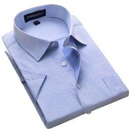 Plain Collar Shirts Australia - Plus Size S To 8xl 2019 Summer Style Short Sleeve Regular Fit Mensdress Shirt Turn Down Collar Twill plain Large Male Clothes