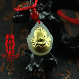 jade gold pendants Australia - Free shipping Gold inlaid jade pendant 12 Zodiac gold and Tian jade necklace men and women life year chicken mascot