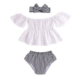 Chinese  Kids Designer Brand Suits Girls Baby Short Sleeved Strapless Round Neck Lace Bow Tops Hair Strap Set 61 manufacturers