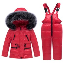 down ski suit 2019 - Winter Children Clothing Sets Warm Baby Girl Thick Snowsuits Ski Suits Natural Fur Kids down Jackets Outerwear Coat+ Bib