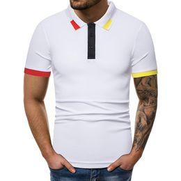 Color Pattern Shirt Australia - Men Pure Color Striped Splicing Pattern Casual Lapel Short Sleeve Shirt England Style Men Shirt Breathable